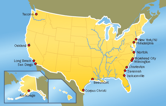 CONTAINER SHIPPING PORTS IN THE US AND EUROPE